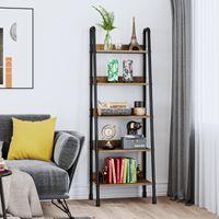 Ladderhylla 5 Tier vardagsrumsmöbler bokhylla bokhylla Industriell lagringsställ Vintage brun och svart 22.05 * 15.16 * 66.93 i