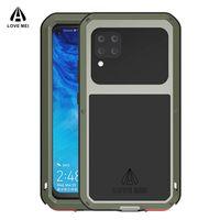 Aşk Mei Güçlü Zırh Kılıf Huawei P40 Lite 4G 5G Pro Artı Su Darbeye Metal Alüminyum Kapak Orodu Cam Cep Telefonu Torbalar