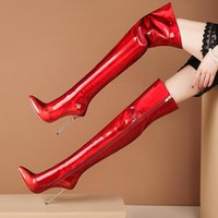Boots 2021 Sexy Over The Knee Pu Leather Autumn Women Fashion Super High Heel Long Zipper Winter Size 34-45