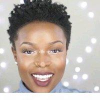 100% İnsan Saç 4 inç Afro Kinky Curl Pixie Kısa Kesim Peruk Afrika Amerikan Brezilyalı Saç Kadınlar için Kısa Siyah Peruk