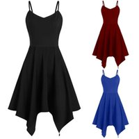 Günlük Elbiseler Bayan Elbise Zarif Artı Boyutu Moda Katı Asimetrik Camiş Mendil Mini Yaz Kadın Vestidos