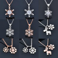 Pendant Necklaces SINLEERY Snowflake Flower Pendants And Rose Gold Silver Color Zirconia Necklace For Women Neck Chains Jewelry XL031 SP