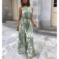 Casual Dresses 2021 Bohemian Dress Fashion Retro Women's Sleeveless Tie-dye Printing Long One-piece Female Beach