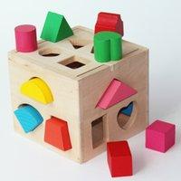 13 개의 지능 상자 3 차원 기하학 나무 어린이 13 홀 모양 일치하는 빌딩 블록