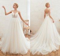 Sexy Beach Bianco Abiti da sposa Abiti da sposa Abiti da sposa Appliqued Moda Elegante