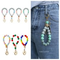 Silicone Bead Bracelet Party Favor Beech Tassel Keychain Pendant Bracelets Ladies Jewelry Keychains T2I52920
