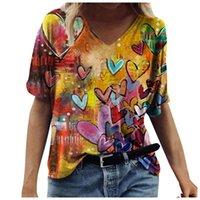 Women's T-Shirt Fashion Women Tops Summer Casual Flower Print V-Neck Short-Sleeved Ladies Pullover Tshirt Tee Top Clothing 2021