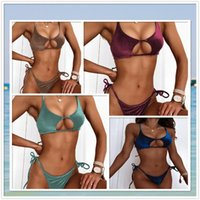 Women's Swimwear Sexy Two-Piece Swimsuit Solid Color Bandage Halter Bikinis Sets Fashion Hollow Out Underwear Beach Wear WIth Push Up Bra