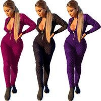 Women luxury Jumpsuits Rompers fall winter clothes sexy club zipper running v-neck long sleeve print letter leggings full-length pants sportswear bodysuits 03348