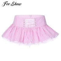 Skirts Women Low Waist Double Layers Striped Skirt Female Sexy Short Dance Club Zipper Closure Adjustable Lace-up Front Miniskirt