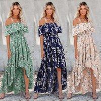 Mulheres vintage floral impresso primavera verão boho beach vestidos fora do ombro meia manga split vestido slash pescoço robe femme atacado