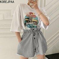 Chevaliers pour femmes KOREJPAA Femmes Set 2021 Summer Corée Chic Réduction de l'âge Rond Dessin de bande dessinée imprimée en vrac T-shirt à manches courtes Casu