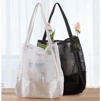 Producir bolsas de malla de compras reutilizables Frutas de cocina Bolsas de almacenamiento de alimentos Bolsa de red negro Bolsas de asas blancas JJA177