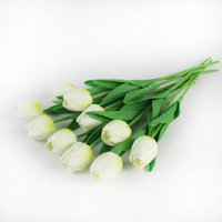 10 unids reales toque artificial flores artificiales tulipanes flor ramo nupcial decorar flores para la decoración del jardín de la boda 2018 v2