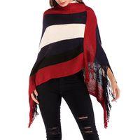 패션 술 밑단 스웨터 스트리트웨어 스트라이프 긴 소매 판쵸 가을 겨울 케이프 코트 목도리 여성 스웨터