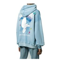 Amir i amiry 20fw peace dove couple men's and women's loose hooded sweater High Street Youth printing leisure high street