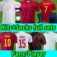 2021 Espana 축구 유니폼 남성 키트 양말 전체 세트 Rodrigo Torres 스페인 팬 플레이어 버전 축구 셔츠 Morata Ramos España 장비 Camisetas de Futbol