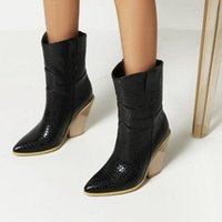 Boots Classic Embroidered Western Pu Leather Wedge High Heel Ankle Sexy Pointed Winter Cowboy Fashion Women Shoe