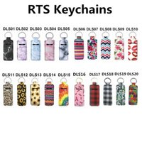20 Style Print Marble Color Neoprene Chapstick Holder Handy Lip Balm Keychains Lipstick Pouch Keychain W0184