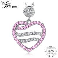 JewelryPalace 낭만적 인 여성을위한 핑크 사파이어 심장 펜던트 생성 100 925 스털링 실버 미세 보석은 체인 로켓을 포함하지 않습니다.