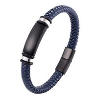 Link, Chain Trendy Men Genuine Leather Bracelets Charm Women Stainless Steel Magnetic Buckle Black brown Blue Classic Male Pulsera