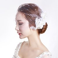 Bridal Veils White Birdcage Veil With And Champagne Flowers For Wedding Brides Accessories