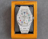 Topp 3120 Full Man Waches Automatisk Drill Watch Fashion 40mm Vattentät Mycket Extravagant Designer Sapphire Glass Armband är studded med diamanter lysande ljus