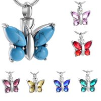 Pendant Necklaces Crystal Butterfly Memorial Urn Necklace Stainless Steel Holder Ashes For Pet Human Keepsake Cremation Jewelry Ahes