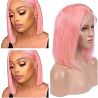 Colored Pink Straight Full Lace Human Hair Wigs Brazilian Human Hair Short Bob Wigs Rose Gold Lace Front Wigs 130 Density Natural Hairline