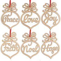 Mektup Ahşap Kilisesi Kalp Kabarcık Desen Süs Noel Ağacı Süslemeleri Ev Festivali Süsler Asılı Hediye Torba Başına 6 PC ZWL235