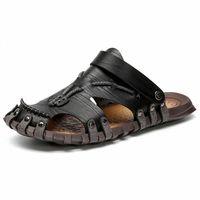 Fashion Summer Beach Chaussures Trend Tendance Non-Slip Sandales occasionnelles Mens Nouveau Cuir Confortable Sandales Mâle Chaussures Grande Taille 38 47 Pantoufles Bottes de pluie Fro P6MC #