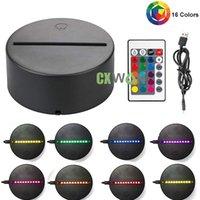 RGB 3D Gece Lambası 4mm Akrilik Yanılsama Baz Lamba Pil veya DC 5 V USB Elektrikli Dekorasyon Lambaları Dokunmatik Anahtarı ile