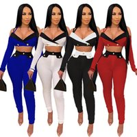 Women's Tracksuits Autumn Two Piece Set Women Long Sleeve Deep V Neck Tanks Crop Top+Pants Leggings Matching Sets Sexy Off Shoulder Tops Out