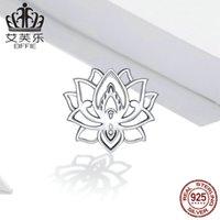 Wostu 925 sterling argento perlina flowering loto charms ciondolo fiore fit formato braccialetto originale collana buona gioielli fortunati CQC1724 988 T2