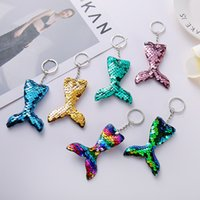 Keychain Mermaid Key Chain Chening Sequin Рыбный хвост сумка подвесной подарок