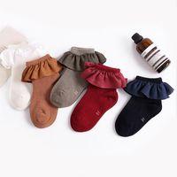 Baby Kids Meisje Katoenen Sokken Baby Ruffles Kant Sokken Vintage Kleuren Kinderen Sokken Alle matchen Beenwarmers voor Princess