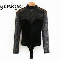 Sexy semi-sheer tulle patchwork velluto tuta da donna con collo alto manica lunga camicetta vintage nero corpo mujer xgc9605 210430