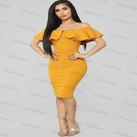 African Organge Yellow Short Evening Dress With Caped Sleeves Off The Shoulder Knee Length Dance Prom Dresses 2021 Night Party Gowns Robe De Soirée Vestidos Longos