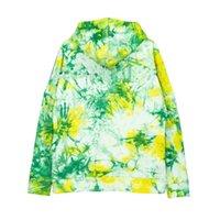 Осень зима мужская толстовка пламя Smiley Print Tie-краситель зеленая рубашка медведь вышивка с длинным рукавом вскользь с капюшоном свитер пару наряд M-XL