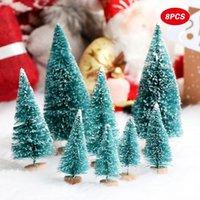 اصطناعي مصغرة أشجار عيد الميلاد تمثال الثلوج زجاجة الصقيع فرشاة البلاستيك الشتاء الحلي حديقة ديكور الديكور الكائنات التماثيل