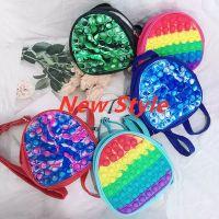 19CM Rainbow Tie Dye Fidget Backpack Popet Bubble Toys Bag Push Pop Bubbles Purses Kids Adult Sports Casual Shoulder Bags Handbag Tote X0929D