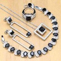 Srebro 925 Bridal Black Kamień Biały Kryształowy Zestawy Biżuterii Dla Lady Kolczyki ślubne / Wisiorek / Naszyjnik / Pierścienie / Bransoletka