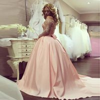 Party Dresses Pink Puffy Evening Dress Boat Neck Lace Applique Long Prom 2021 Ball Gown Wedding For Middle East Women
