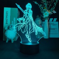 Acrylic Night Light Baby LED Anime 3D Desk Lamp Bedside Illusion Nightlight Zhongli Figure Genshin Impact Kid Fans Birthday Gift