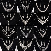 Wedding Jewellery Set Crystal Bridal Jewelry Sets For Women Long Tassel Statement Necklace Earrings Silver Plated Geometric Earrings & Neckl