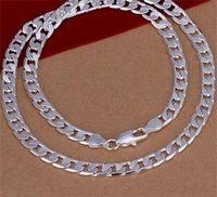 2017 Joyería de moda Caliente Hot Men's Necklace 925 Sterling Silver Plateado 16-22 pulgadas 8mm Cadenas planas Collar para hombre Hombres 43 J2