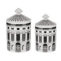 Casa de cerámica Soporte de vela DIY Castillo Hecho a mano Caramelo Jar Vintage Storages Bins CAFT Decoración para el hogar Jewerlly Cajas de almacenamiento