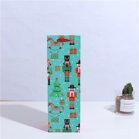 Gift Wrap 12 Pcs Christmas Red Wine Packaging Card Paper Bag Cartoon Character Hand Drinks Packing