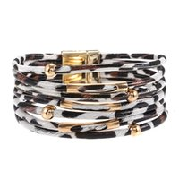 Jelly Glow European and American models alloy leopard pattern magnet buckle eather bracelet, beaded leather rope, copper tube bracelet jewelry