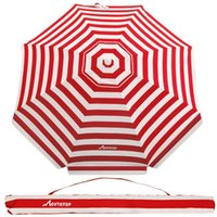 Tents And Shelters MOVTOTOP 1PC 6.5 Feet Striped Beach Umbrella UV Protection With Aluminum Pole Adjustable Sand Anchor Carr